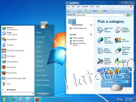 Windows 7 Ultimate RC 1 para Windowblinds Pack XP UmbrellaMOD.CoM