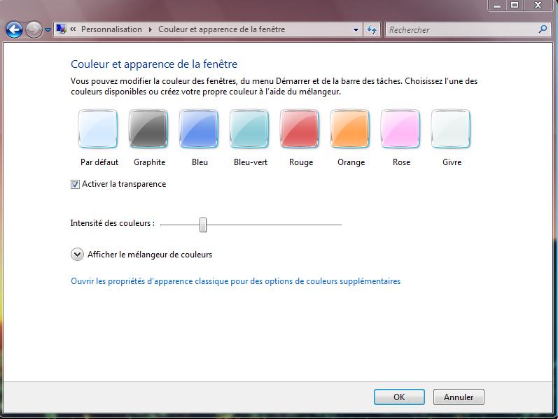 Modifier couleur menu demarrer vista for Ouvrir fenetre plein ecran windows 7