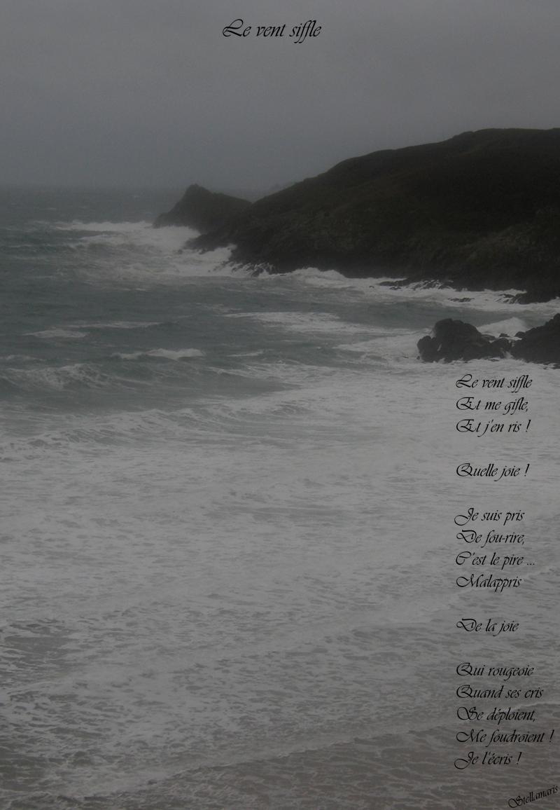 Le vent siffle / / Le vent siffle / Et me gifle, / Et j'en ris ! / / Quelle joie ! / / Je suis pris / De fou-rire, / C'est le pire … / Malappris / De la joie / / Qui rougeoie / Quand ses cris / Se déploient, / Me foudroient ! / Je l'écris ! / / Stellamaris